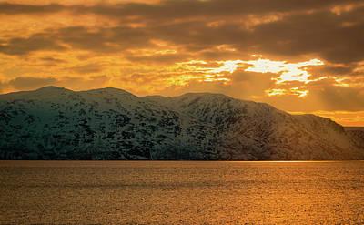Photograph - Altafjord Snowy Peaks At Sunset by Adam Rainoff