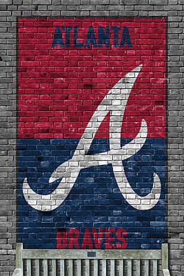 Baseball Painting - Atlanta Braves Brick Wall by Joe Hamilton