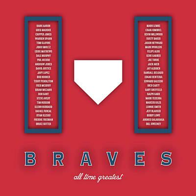 Mlb Digital Art - Atlanta Braves Art - Mlb Baseball Wall Print by Damon Gray