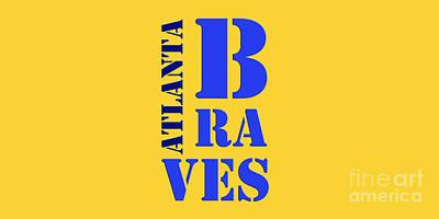 Brave Mixed Media - Atlanta Braves Original Sign by Pablo Franchi