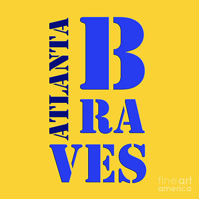 Baseball Drawing - Atlanta Braves Sign by Pablo Franchi
