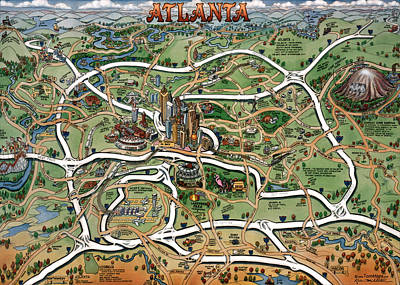 Atlanta Cartoon Map Art Print by Kevin Middleton