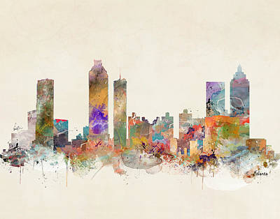 Atlanta City Painting - Atlanta City Skyline by Bri B