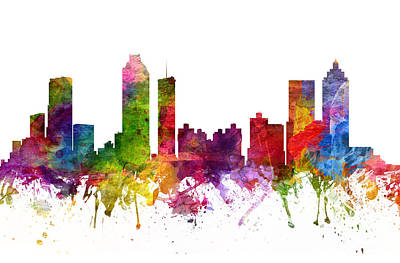 Watercolour Drawing - Atlanta Cityscape 06 by Aged Pixel