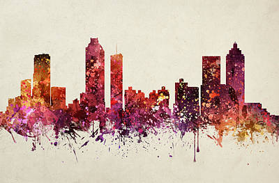 Georgia Drawing - Atlanta Cityscape 09 by Aged Pixel