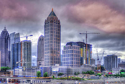 Photograph - Atlanta Cityscape 5 Cranes Construction Skyscraper Art by Reid Callaway