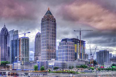 Photograph - Atlanta Cityscape 5 Cranes Construction Skyscraper Art by Reid Callaway