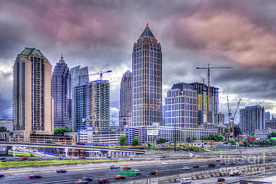 Photograph - Atlanta Cityscape 6 Cranes Construction Skyscraper Art by Reid Callaway