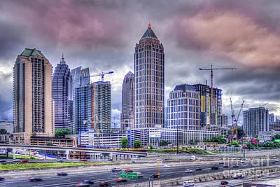Photograph - Atlanta Cityscape 6 Cranes Construction Skyscraper Art by Reid Callaway