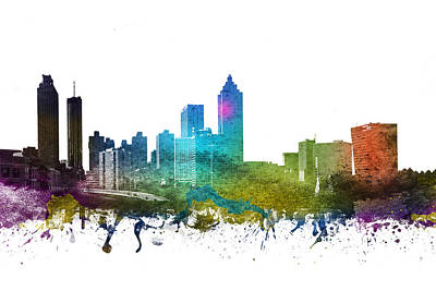 Skylines Drawing - Atlanta Cityscape 01 by Aged Pixel