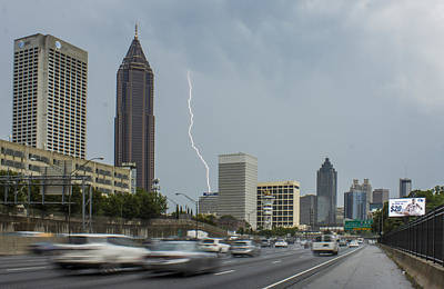 Lightning Bolt Photograph - Atlanta Daytime Lightning by Reid Callaway