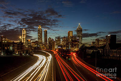 Art Print featuring the photograph Atlanta Downtown Infusion Atlanta Sunset Cityscapes Art by Reid Callaway