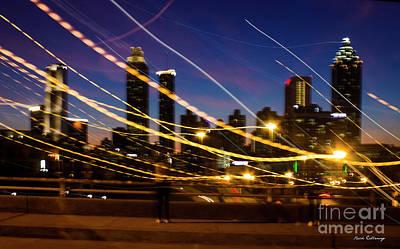 Photograph - Atlanta Fire Flies Cityscape Abstract Art by Reid Callaway
