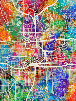 Street Digital Art - Atlanta Georgia City Map by Michael Tompsett