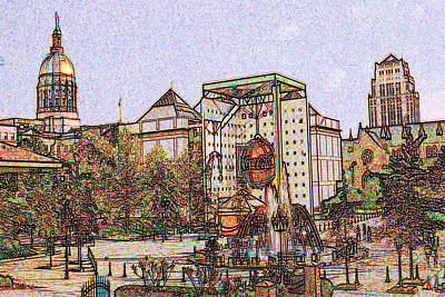 Capitol Building Drawing - Atlanta Georgia Usa - Color Pencil by Art America Gallery Peter Potter