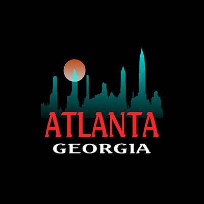 Tapestry - Textile - Atlanta Georgia Tshirt Design by Art America Gallery Peter Potter