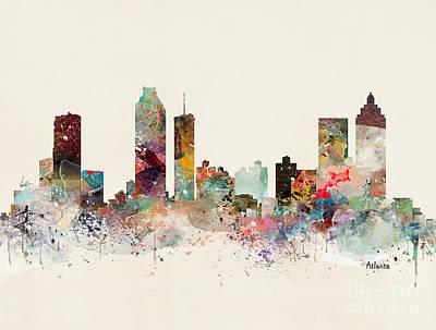 Painting - Atlanta Georgia Skyline by Bleu Bri