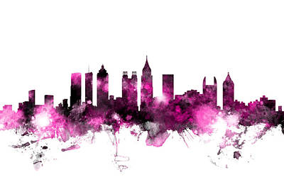 Digital Art - Atlanta Georgia Skyline Pink by Michael Tompsett