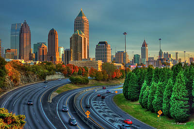 Photograph - Atlanta Glow Sunset Skyline Art by Reid Callaway
