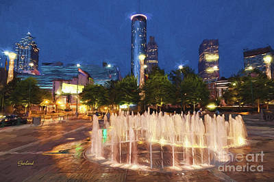 Scenic Mixed Media - Atlanta Glowing by Garland Johnson