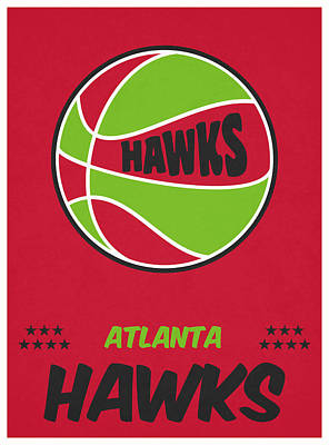 Hawk Mixed Media - Atlanta Hawks Vintage Basketball Art by Joe Hamilton