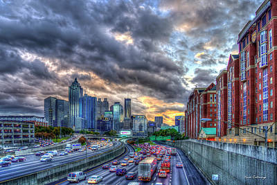 Photograph - The Rush Is On Atlanta Downtown Atlanta Sunset Art by Reid Callaway
