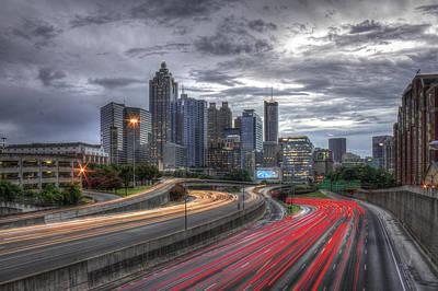 Photograph - Atlanta Lights Up Downtown I-75 I-85 by Reid Callaway