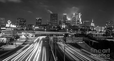 Photograph - Atlanta Moving On B W Skyline Cityscape Art by Reid Callaway