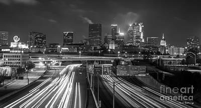 Photograph - Atlanta Moving On B W Skyline Cityscape Art by Reid Callaway