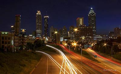 Atlanta Night Lights Atlanta Cityscape Art Art Print by Reid Callaway