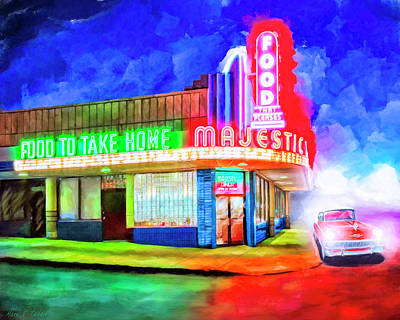 Art Deco Mixed Media - Atlanta Nights - The Majestic Diner by Mark Tisdale