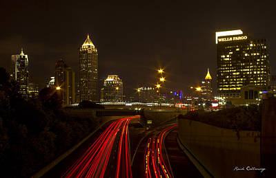 Photograph - Atlanta Nite Works 2 Cityscape Night Art by Reid Callaway