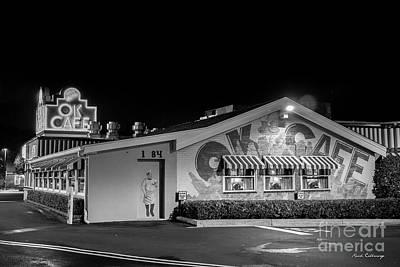 Photograph - Atlanta Ok Cafe Nightshift B W Atlanta Restaurant Art by Reid Callaway