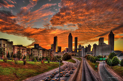 Photograph -  Atlanta Orange Clouds Sunset Capital Of The South by Reid Callaway