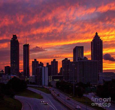 Photograph - Atlanta Sky Aglow Sunset Skyline Cityscape Art by Reid Callaway