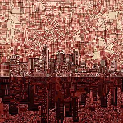 Digital Art - Atlanta Skyline Abstract Deep Red by Bekim Art