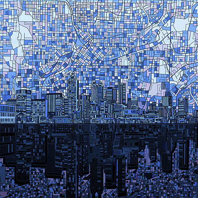 Digital Art - Atlanta Skyline Abstract Navy Blue by Bekim Art