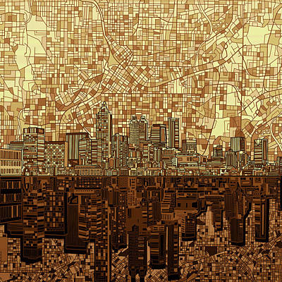Digital Art - Atlanta Skyline Abstract Orange by Bekim Art