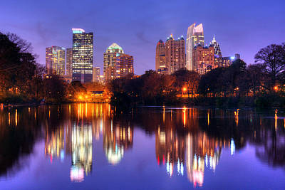 Photograph - Atlanta Skyline At Dusk Midtown Color Piedmont Park by Jon Holiday