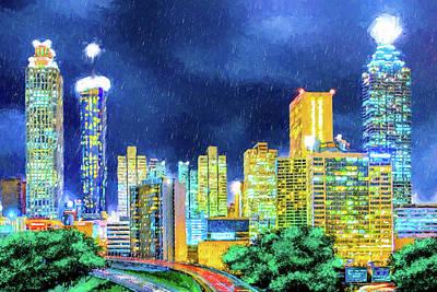 Mixed Media - Atlanta Skyline At Night by Mark Tisdale