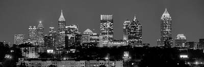 Photograph - Atlanta Skyline At Night Downtown Midtown Black And White Bw Panorama by Jon Holiday