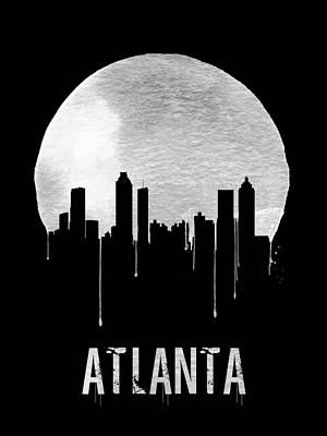 Building Digital Art - Atlanta Skyline Black by Naxart Studio