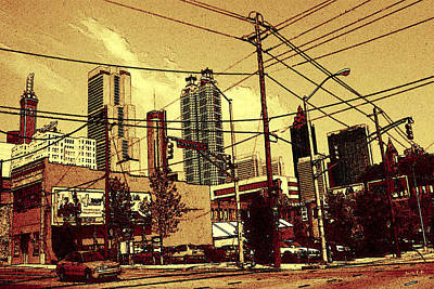 Drawing - Atlanta Skyline 99 - Cola Colored by Art America Gallery Peter Potter