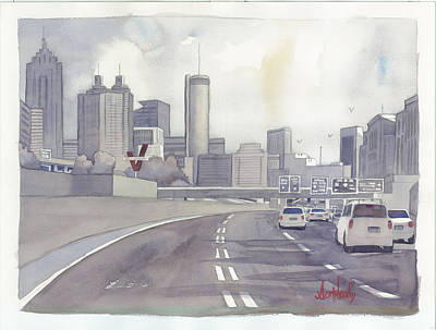 City Painting - Atlanta Skyline Grey Southward by Scott Serafy