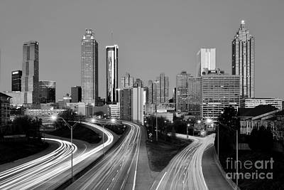 Photograph - Atlanta Skyline In Morning Downtown Light Trails Bw Black And White by Jon Holiday