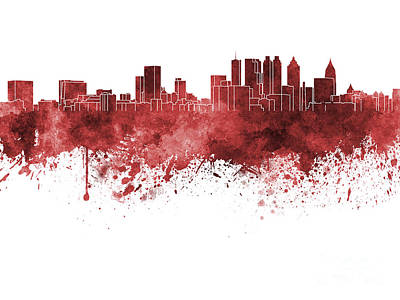 Atlanta Painting - Atlanta Skyline In Red Watercolor On White Background by Pablo Romero