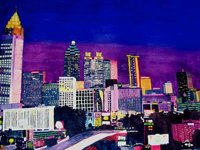 Atlanta City Painting - Atlanta Skyline by Liz Borkhuis