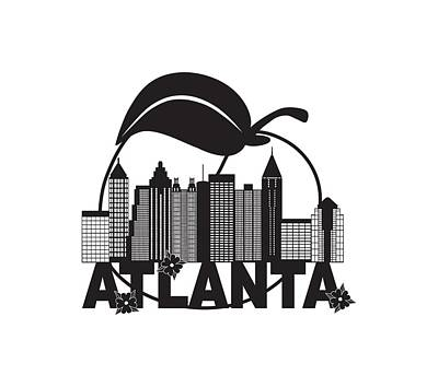Digital Art - Atlanta Skyline Peach Dogwood Black White Text Illustration by Jit Lim