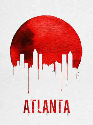 Panorama Painting - Atlanta Skyline Red by Naxart Studio