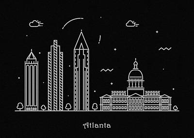 Abstract Landscape Drawing - Atlanta Skyline Travel Poster by Inspirowl Design